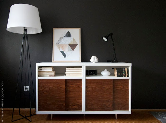 Ikea Besta Hack Mid century modern cabinet DIY idea for living room with astorp lamp stand and dark grey walls
