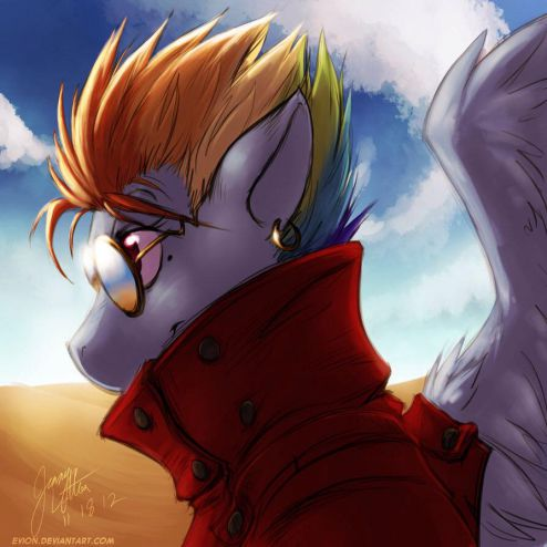 You have Rainbow Dash from My Little Pony, and Dash sounds like Vash, who is from Trigun