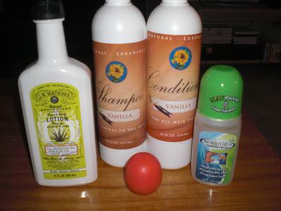 body lotion, shampoo, conditioner, lip balm, lip gloss, deodorant