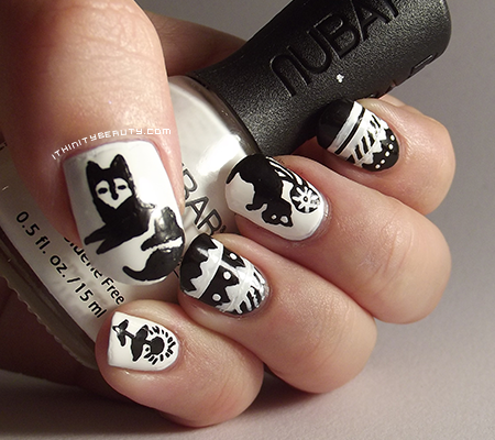 Black and white tribal animal nails ithinitybeauty nail art blog i came across this design on pinterest and had to try some of the cute tribal animal designs for myself prinsesfo Choice Image
