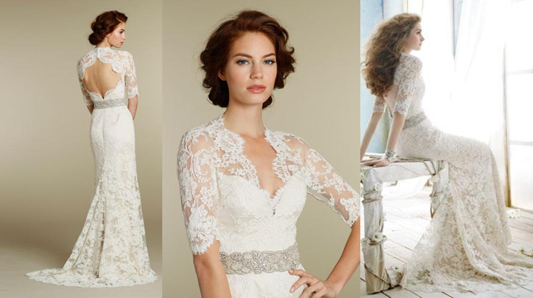 Fly me to the moon trend alert bridal gown straps and for Lace three quarter sleeve wedding dress