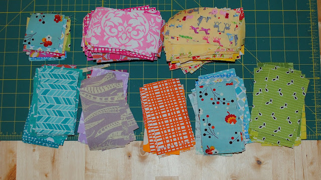 colorful scraps for scrappy chevron quilt