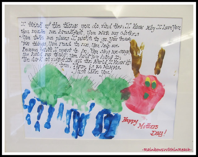 Eric Carle-like Painted Handprints for Mother's Day in Painted Hands + Feet RoundUP at RainbowsWithinReach