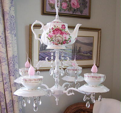 Who would think of a teacup chandelier as a way to upcycle old teacups?