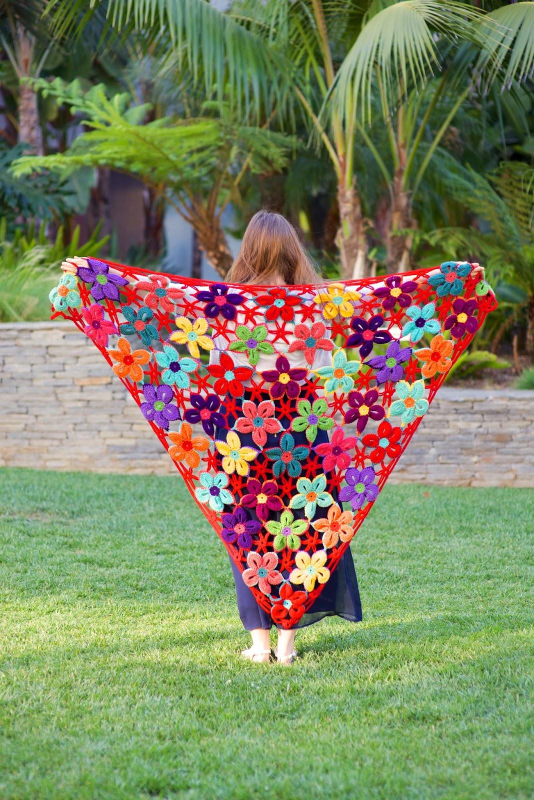 Monster Crochet Mexican Flower Motif Shawl