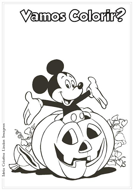 Desenho Mickey Mouse Halloween para colorir