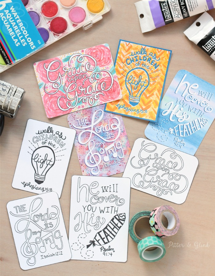 Free Hand-Lettered Journaling Cards--Perfect for your Bible journaling pages! www.pitterandglink.com