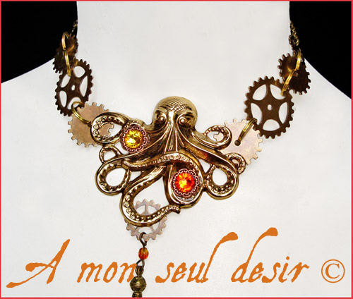 collier steampunk pieuvre poulpe kraken rouages octopus steampunk necklace gears