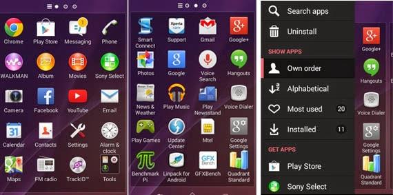 Interface Sony Xperia E1 - Aplikasi