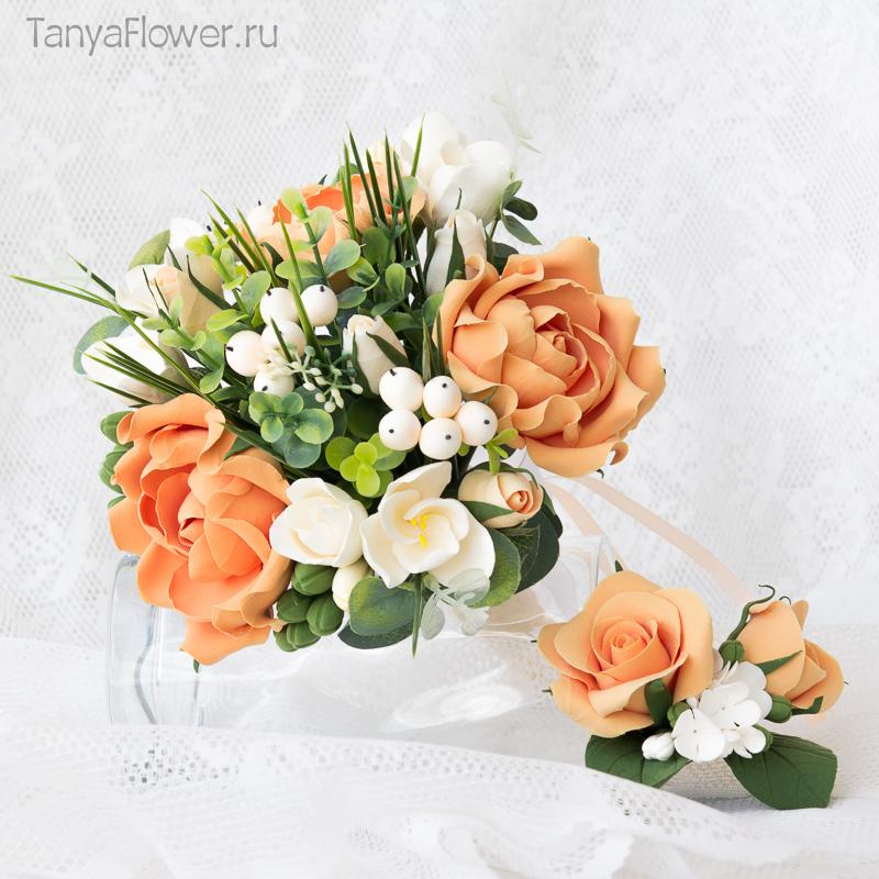 букет цветов на свадьбу из полимерной глины