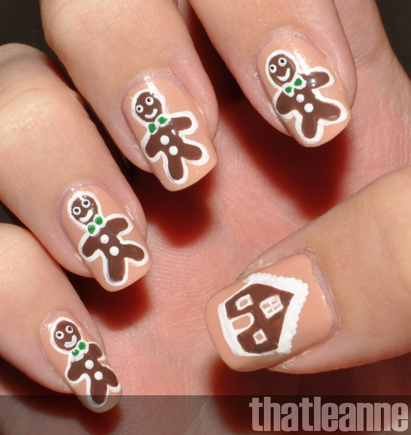 Thatleanne Chococat Nail Art: Thatleanne: Choccy Gingerbread Men Nail Art