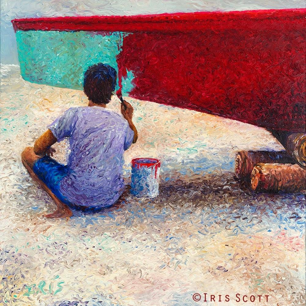 03-My-Thai-Boat-Painter-Iris-Scott-Finger-Painting-Fine-Art-www-designstack-co