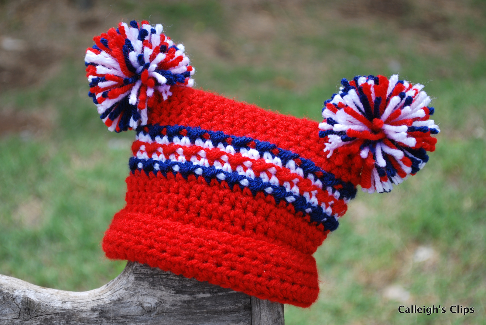 Free Crochet Pattern: Homespun® Pom-Pom Hat - Braille Input Version