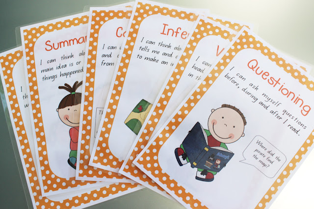 Reading comprehension posters for guided reading groups | How I organise my guided reading tub for reading groups | classroom organisation | free printables | literacy groups |