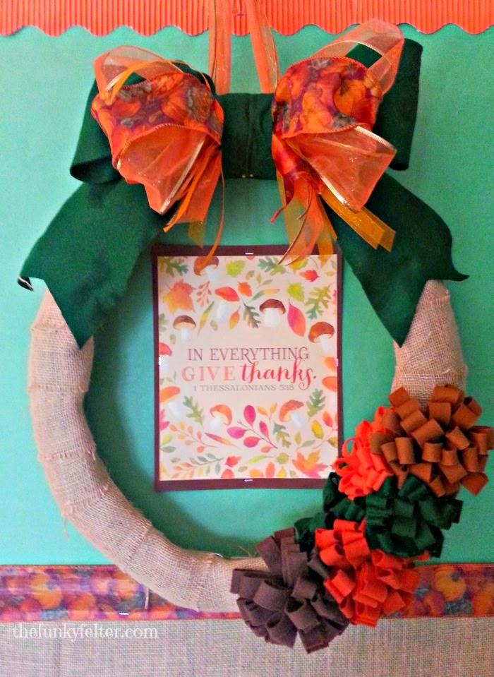 thanksgiving handmade burlap wreath decoration craft