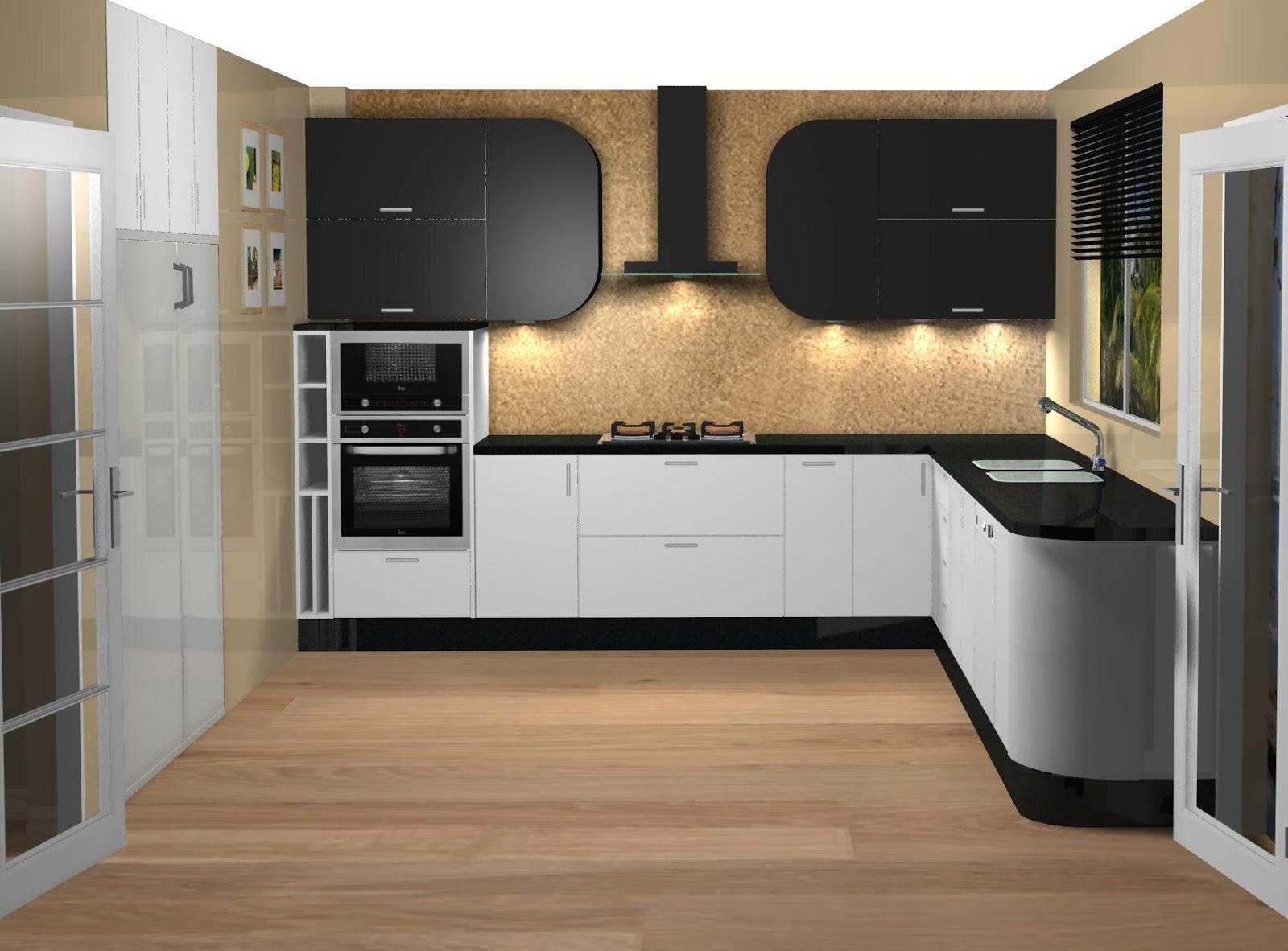 Dise o de cocina lacada en blanco y negro for Encimera de cocina lacada en blanco negro