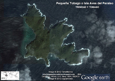 Pequea Tobago o Isla Aves del Paraso (vista aerea de google earth (Isla de Trinidad y Tobago)