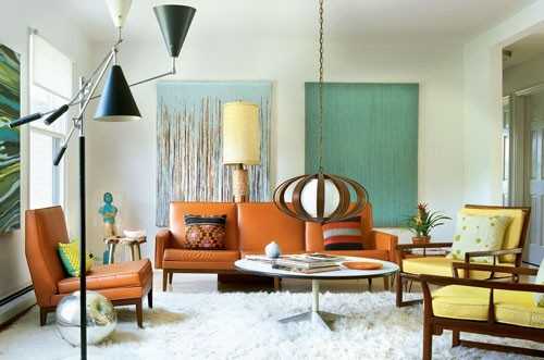 Makeover addict let 39 s go retro Inspiration for designing a mid century modern living room