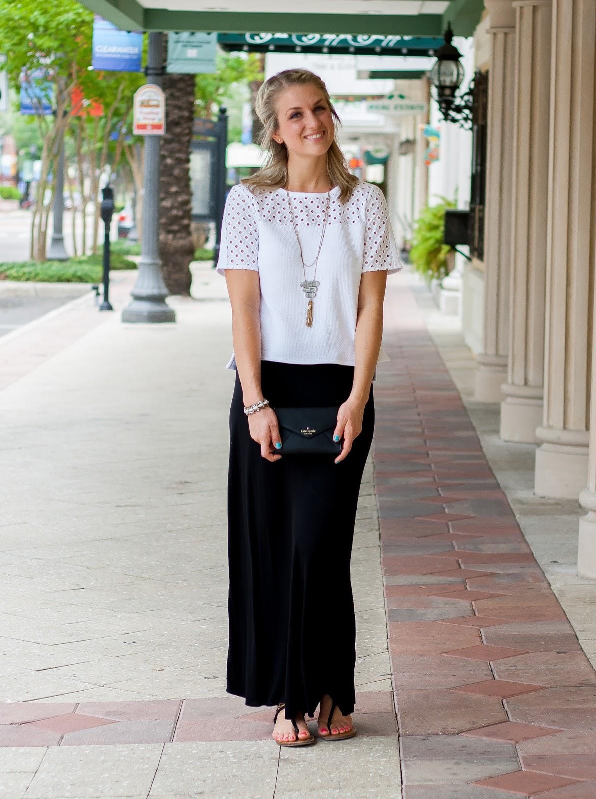 Black Maxi Skirt White Top - Dress Ala
