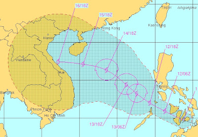 Tropischer Sturm BANYAN noch über den zentralen Philippinen - Weg führt wahrscheinlich nach Vietnam, Banyan, Pazifik, Taifunsaison, Philippinen, Satellitenbild Satellitenbilder, Vietnam, Vorhersage Forecast Prognose, Verlauf, Zugbahn, Oktober, 2011, aktuell,