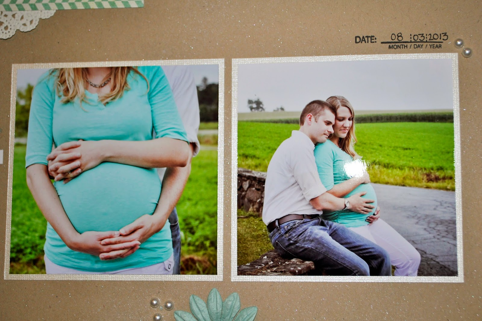 12x12 scrapbook page pregnancy maternity photos ultrasound 3D 2D pink teal blue birds sweet baby girl boy machine stitching sew sewing ribbon ivory white gold hears tag light pink note to baby weeks week weekly growth kraft brown butterfly anticipation doily doilies