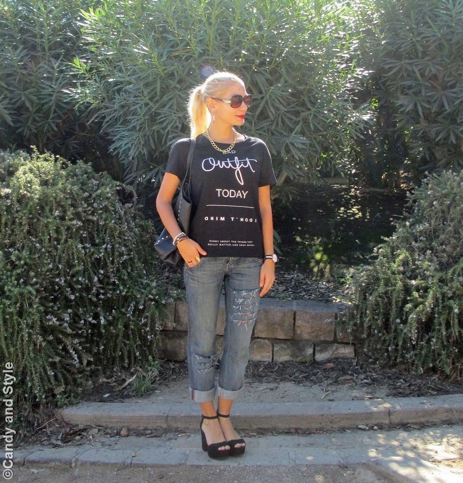 BlackTee, BfJeans, Sandals, StuddedShopperBag, HighPonytail - Lilli Candy and Style Fashion Blog