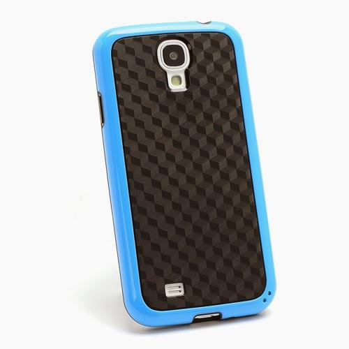 Cool 3D Cube Texture TPU Case for Samsung Galaxy S 4 IV i9500 i9505 - Black / Blue