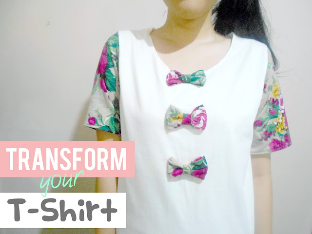 DIY T-shirt Refashion - Cute Floral Sleeves and Bow T-shirt!