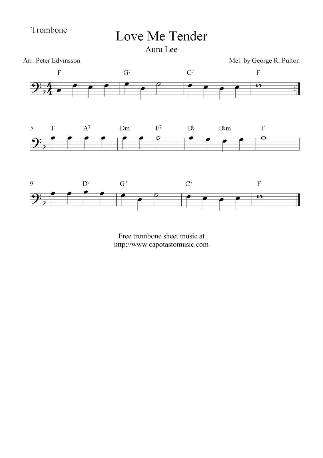 love me tender aura lee free trombone sheet music notes. Black Bedroom Furniture Sets. Home Design Ideas