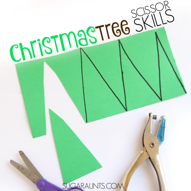 Christmas Tree Scissor skills craft for kids this holiday season, perfect for preschool parties or play dates while working on Occupational Therapy goals like cutting on lines.