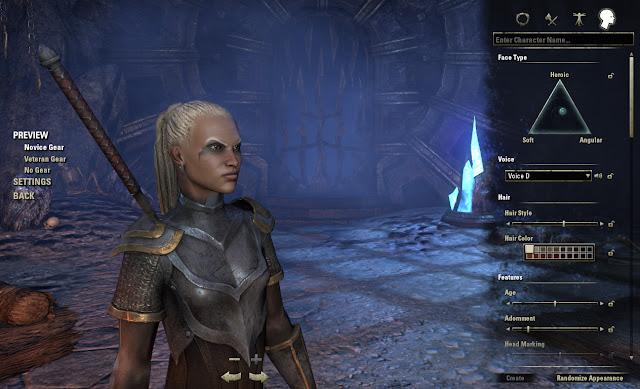 Elder Scrolls Online character creation screen