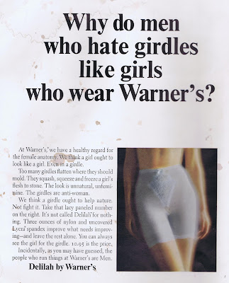 Why do men who hate girdles like girls who wear Warner's? girdle ad from 1964