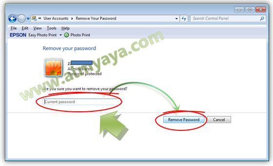Gambar: Menghapus password Windows