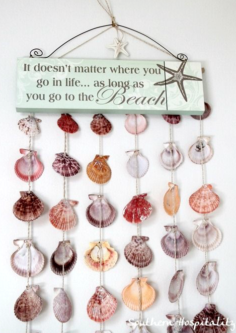 Sea Shell Wall Hanging with Sign