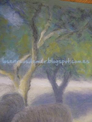 Detalle de árboles de Corderino - Pastel sobre papel