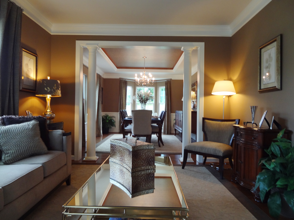 Opposite The Study Is Living Room Which Connects To Dining Located At Back Of House Columns Between Two Rooms Are Optional
