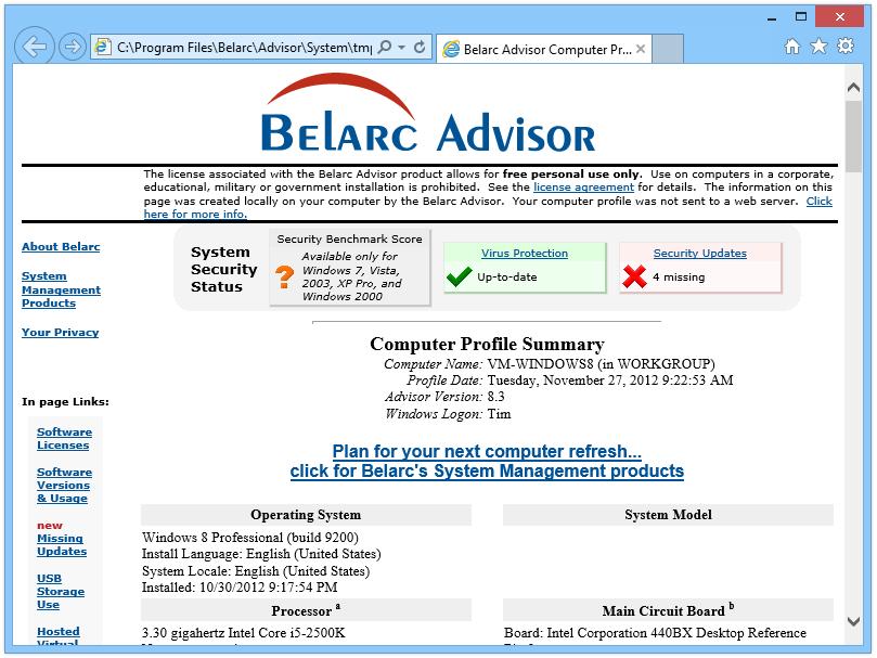 FREE Download Belarc Advisor - Free Personal PC Audit (Version 8.3 ...