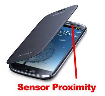 Sensor Proximity yang berfungsi pada flip cover ponsel Android
