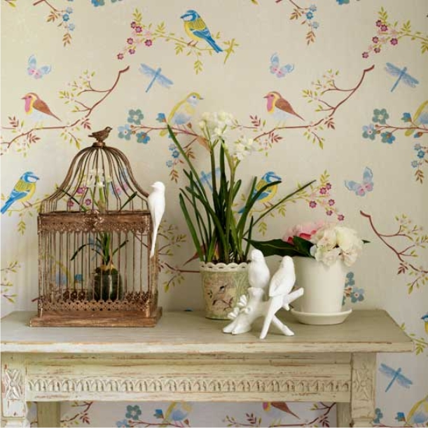 Wallpaper Designs With Birds : Danielle holanda as cores e alegria dos p?ssaros em papel