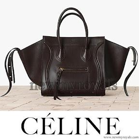 Princess Madeleine Style Celine Black Croc Embossed Phantom Bag