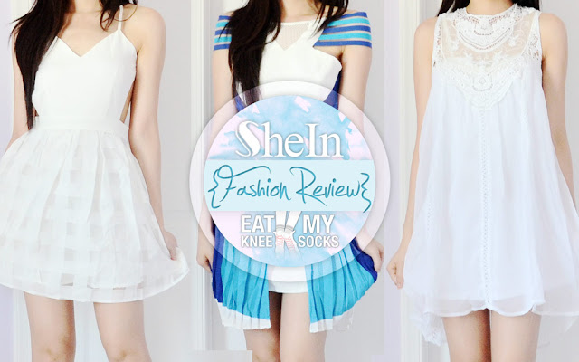 A review of SheIn's lace high-neck crochet shift dress, white flared backless dress, and blue striped Three Floor Ray of Light dupe off-shoulder dress. - Eat My Knee Socks/Mimchikimchi
