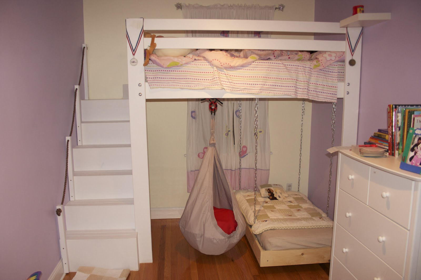 Kids space loft bed bunk bed build with hanging toddler for How to make a loft room