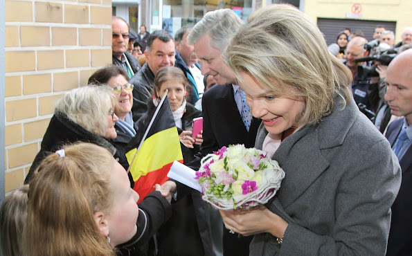"King Philippe and Queen Mathilde of Belgium visited the charity organization ""Resto du Coeur"" in Charleroi"