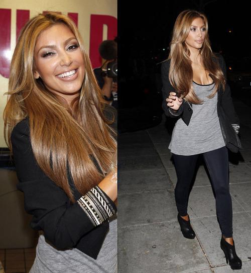 la jet seteuse kim kardashian et sa chevelure de desse elle a opt pour un miel et quelques mches blond dor effet garantie - Coloration Caramel Miel