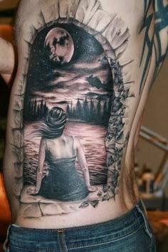 3D fantasy world tattoo on side body