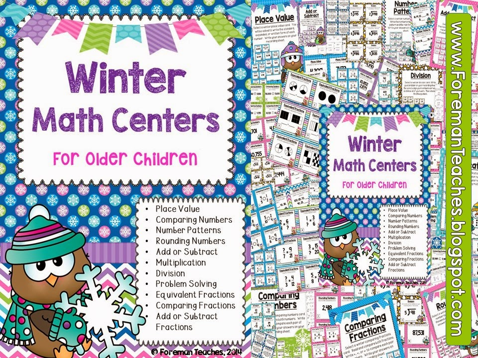 http://www.teacherspayteachers.com/Product/11-Winter-Math-Centers-for-Older-Children-1620724