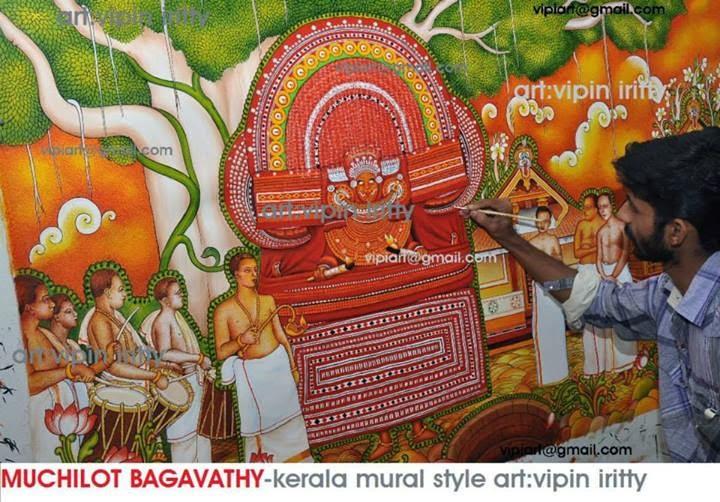 Vipin iritty artist june 2014 for Asha mural painting guruvayur