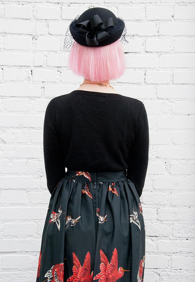 my vintage wedding, black veiled hat, pink hair
