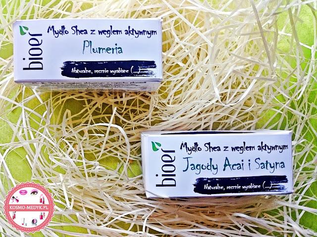 Bioer, mydło z masłem shea i węglem aktywnym w wersji plumeria oraz jagody acai i statyna