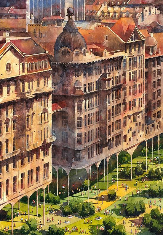 Exquisitas pinturas en acuarela surrealistas de Varsovia por Tytus Brzozowski